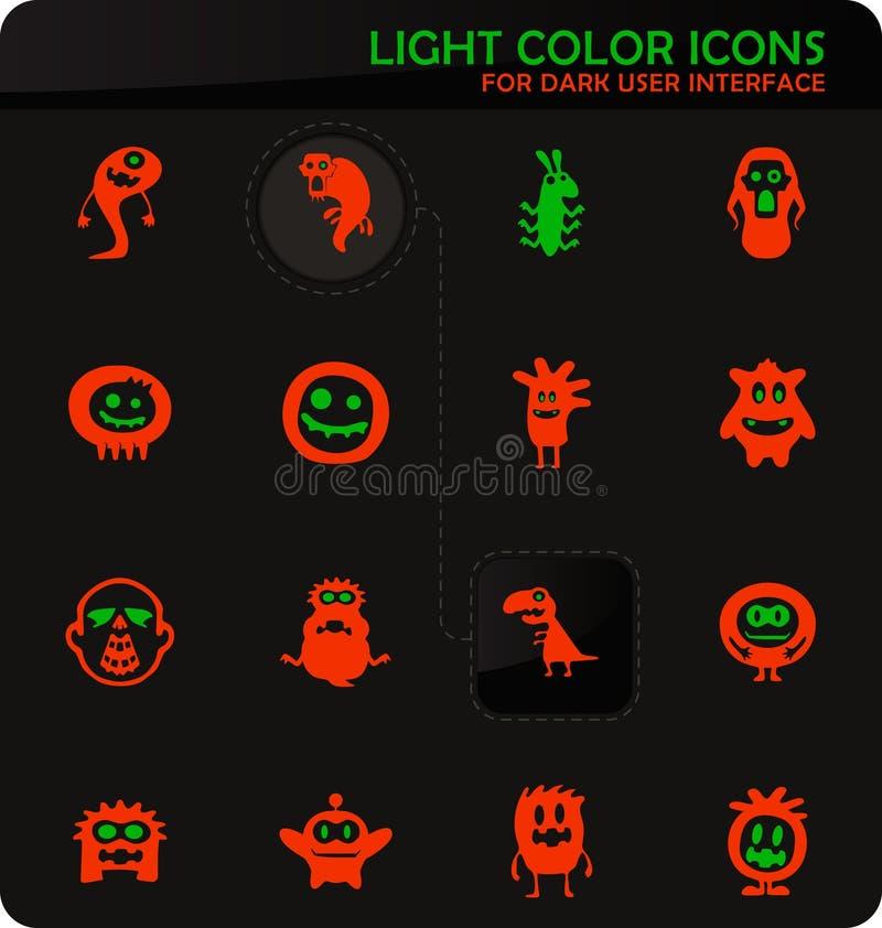 Monster icons set. Monster easy color vector icons on dark background for user interface design vector illustration