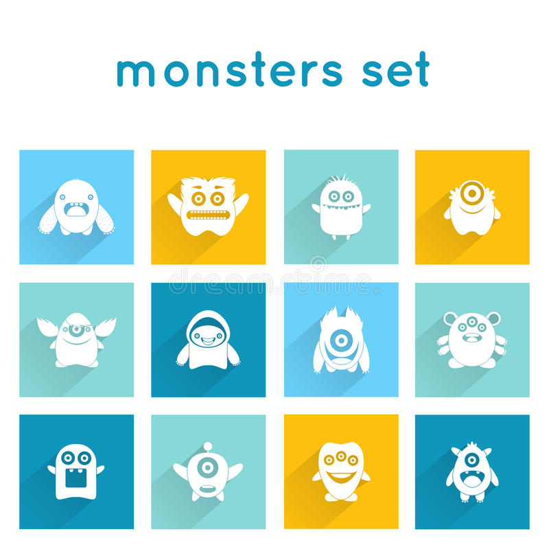 Monster Icons Set. Monster icons funny mutant animal creature emoticons set isolated vector illustration royalty free illustration