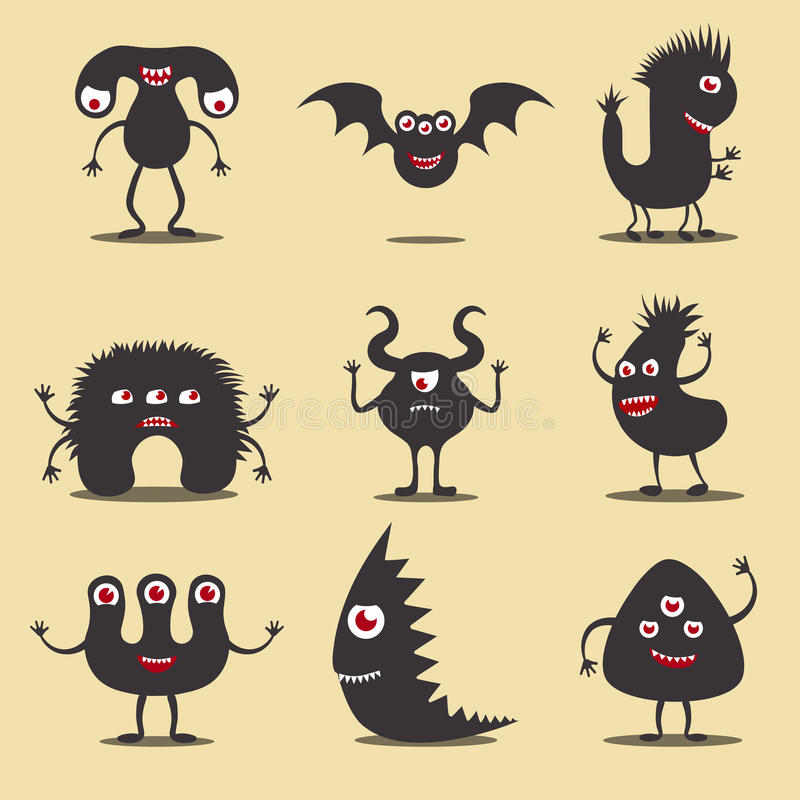 Monster icons set. Set of funny monster icons or silhouettes. EPS10 vector collection of cute cartoon monster characters vector illustration