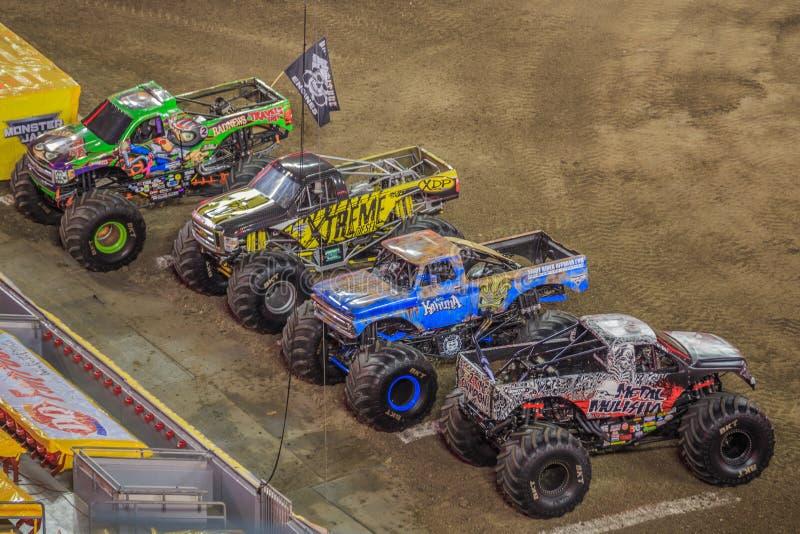 Monster Jam Trucks. A lineup of various Monster Jam Trucks at Raymond James Stadium in Tampa, Florida stock images
