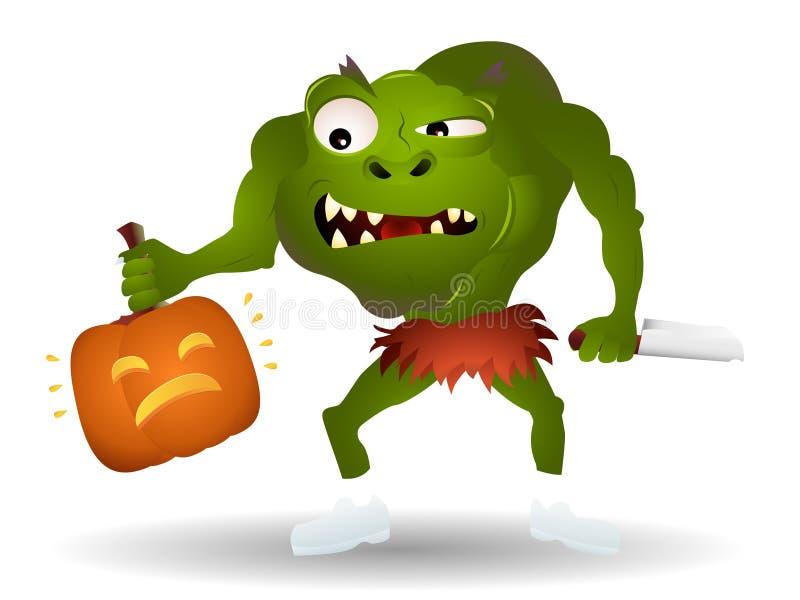 Monster killing a pumpkin