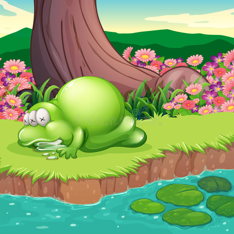 Download A Monster Lying At The Riverbank Stock Illustration - Image: 34316206