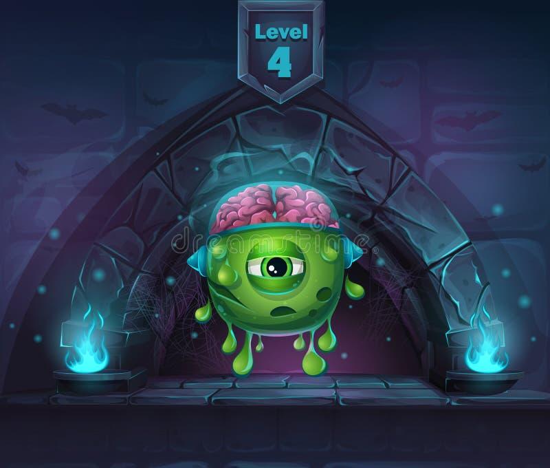 Monster med hjärnor i ärke- magi i därefter den 4th nivån royaltyfri illustrationer