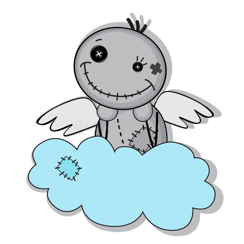 Monster met vleugels op een wolk royalty-vrije illustratie