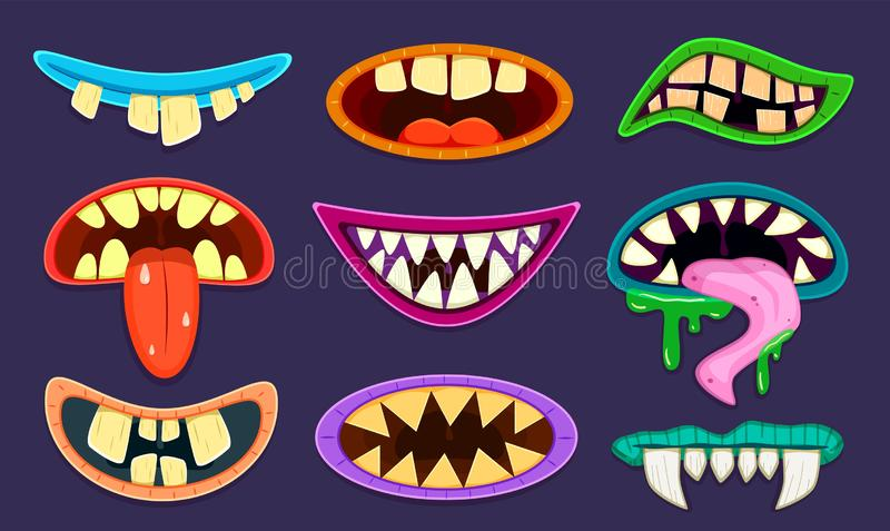 Monster mouth. Cute scary goblin, gremlin and aliens mouths with tongue and teeth. Halloween trolls caricature cartoon stock illustration