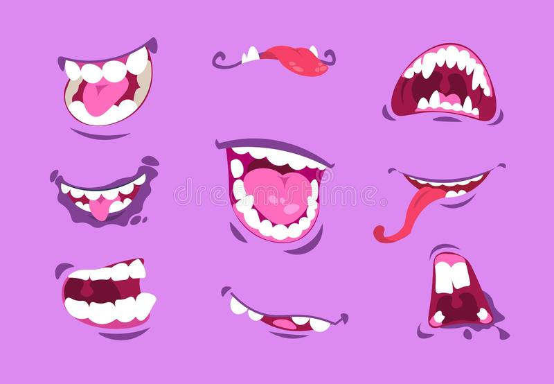 Monster mouths. Cartoon scary and crazy faces with angry expressions, comic cute caricature mouth with teeth and tongues royalty free illustration