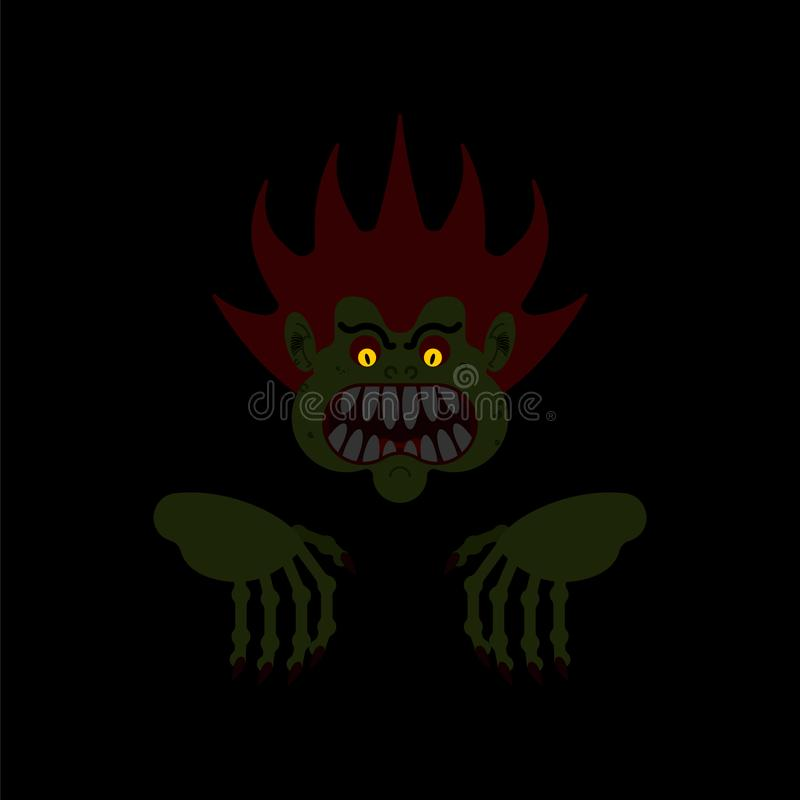 Monster in night isolated. Horror of night. Horrible dream. Vector illustration vector illustration