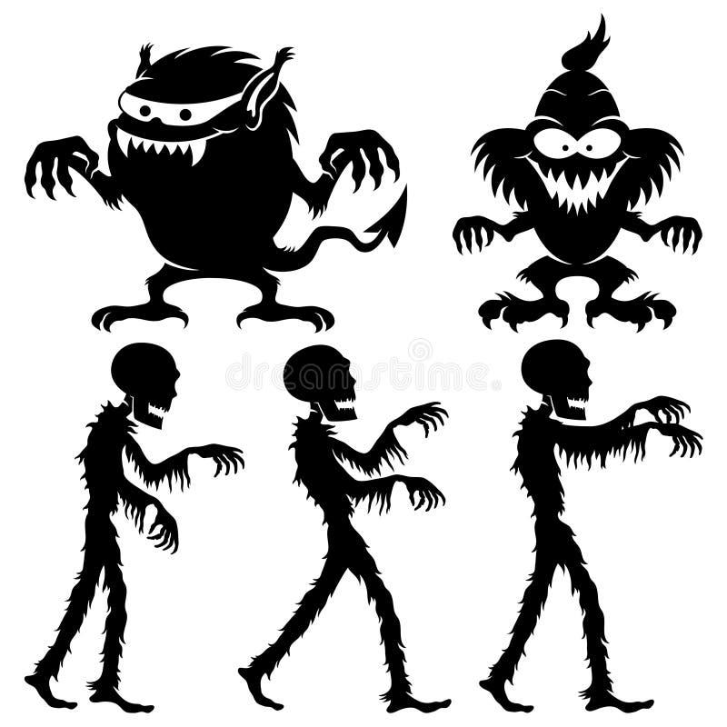 Monster och levande död för halloween stock illustrationer