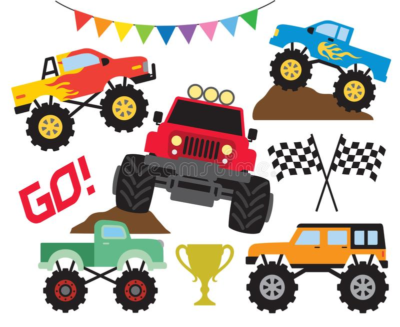 Monster Off Road Truck Vector Illustration Set royalty free illustration