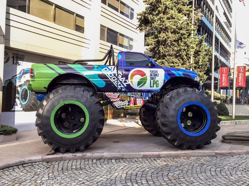 Monster offroad truck that Aygaz has used for their auto-gas commercials. Istanbul, Turkey - December 13, 2018: Monster offroad truck that Aygaz has used for stock image