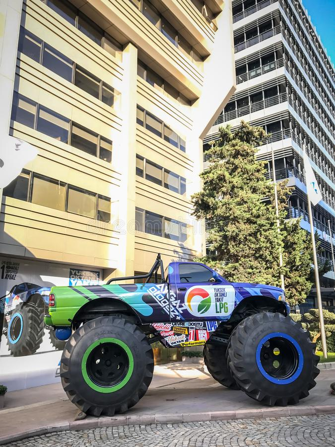 Monster offroad truck that Aygaz has used for their auto-gas commercials. Istanbul, Turkey - December 13, 2018: Monster offroad truck that Aygaz has used for royalty free stock photography