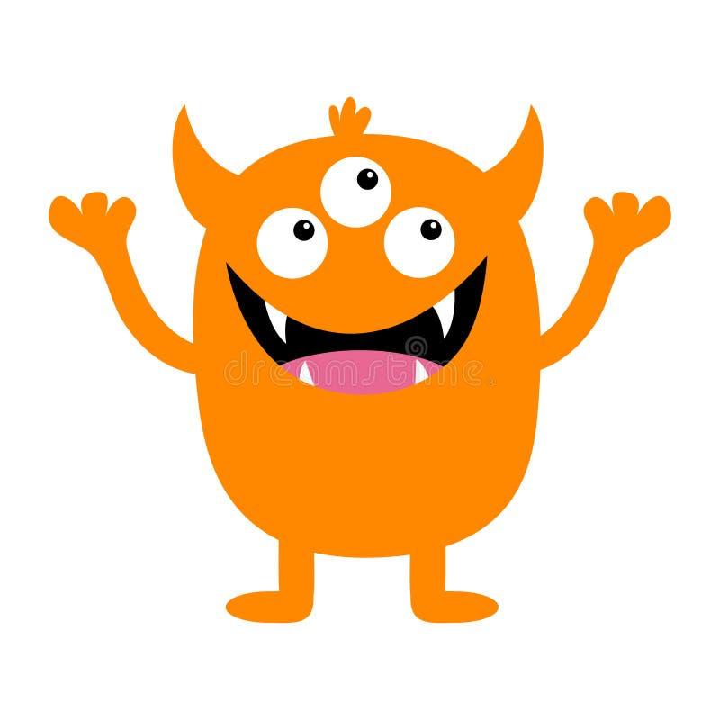 Monster oranje silhouet Het leuke enge grappige karakter van beeldverhaalkawaii Babyinzameling Drie ogen, de tong van de hoektand vector illustratie