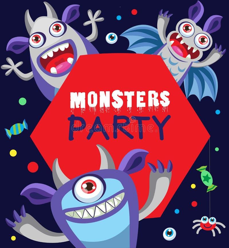 Monster Party Card Design. Cartoon Vector Illustration. Funny Monster Card. stock illustration