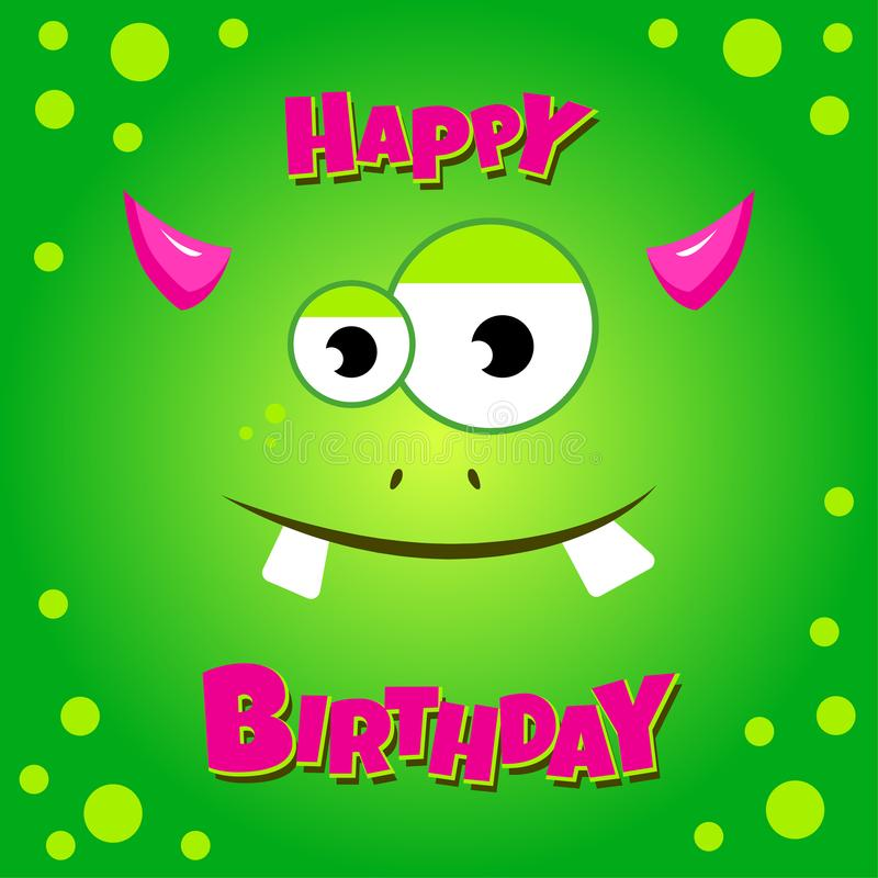 Monster party card design. Happy birthday card stock illustration