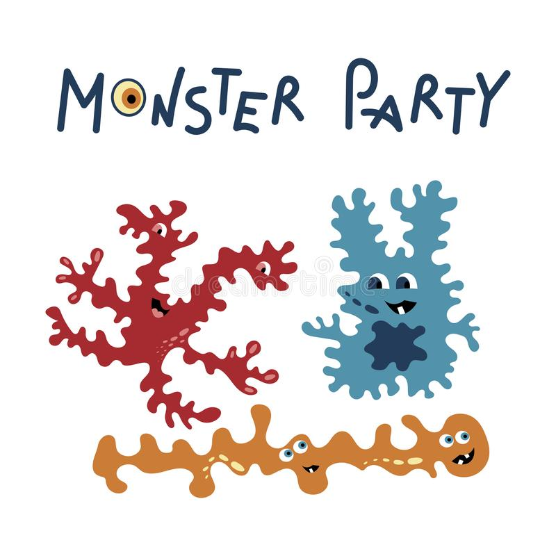 Monster party card design. Vector vector illustration