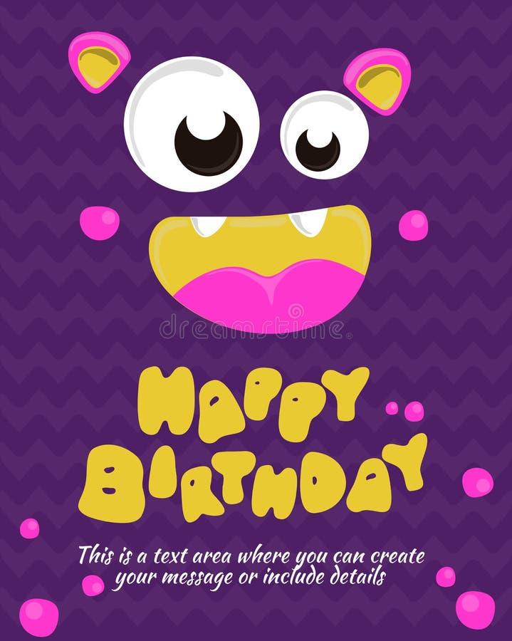 Monster party card invitation design. Happy birthday template. Vector illustration vector illustration