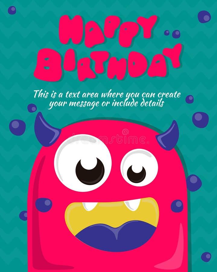 Monster party card invitation design. Happy birthday template. Vector illustration royalty free illustration