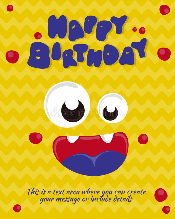 Monster party card invitation design. Happy birthday template. Vector illustration stock illustration
