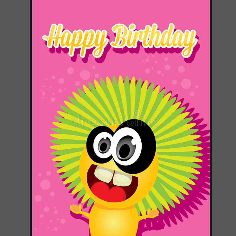 Monster party happy birthday card design template vector illustration