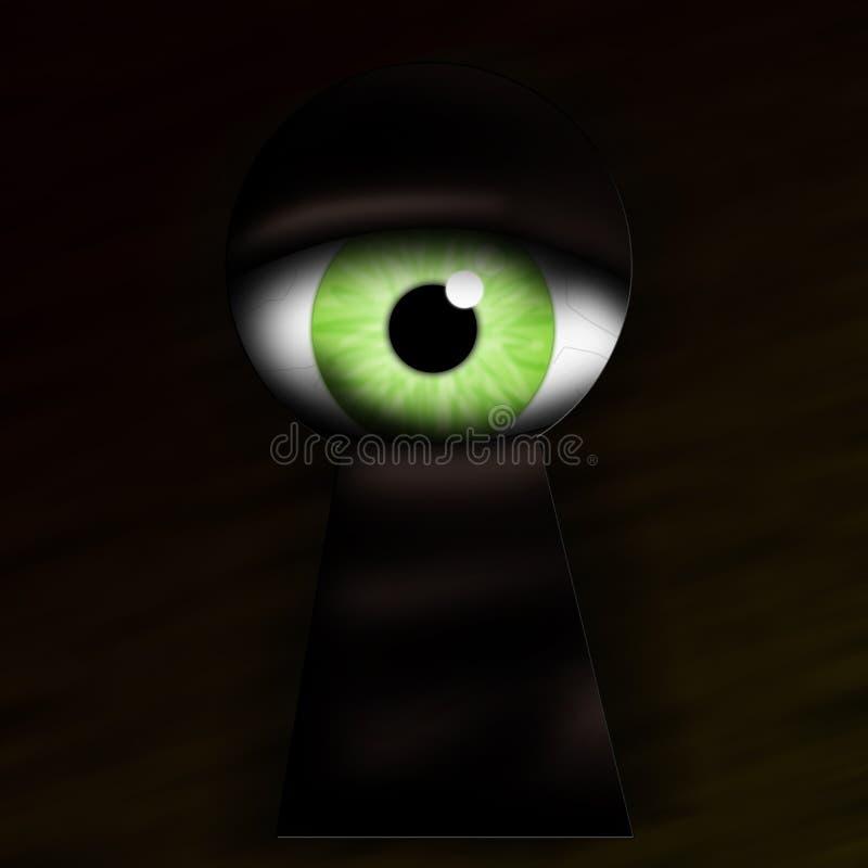Monster peek keyhole royalty free illustration
