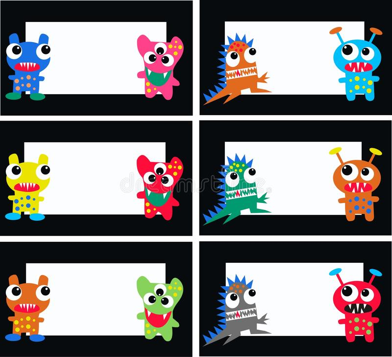 Monster plates. Illustration of six different monster plates for young students vector illustration