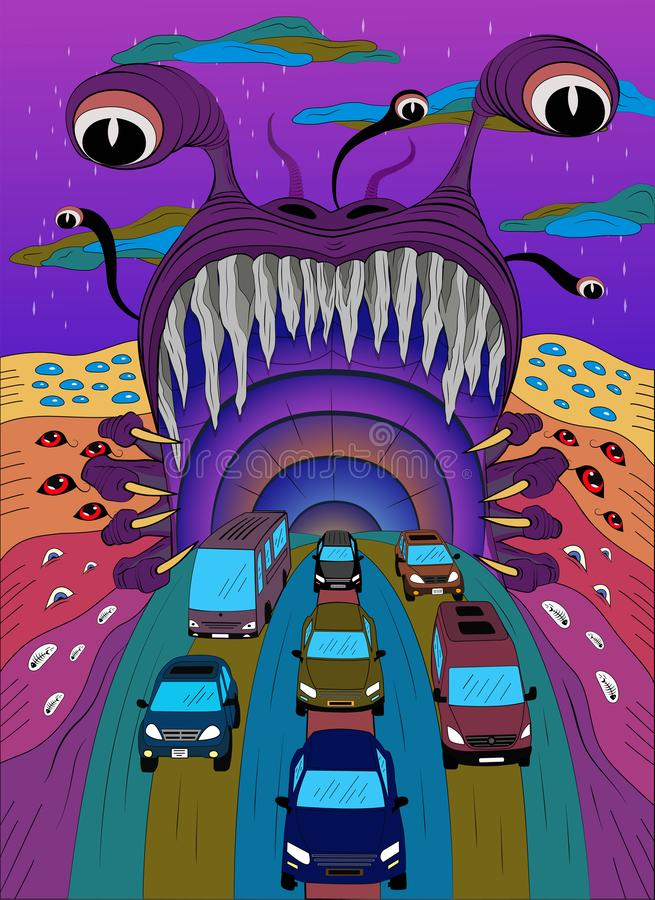 Monster psychedelic-affisch stock illustrationer