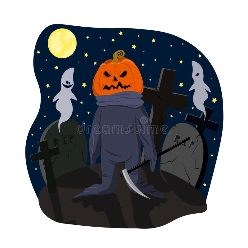 Monster with a pumpkin head with scythe on cemetery dark moonlit night royalty free illustration
