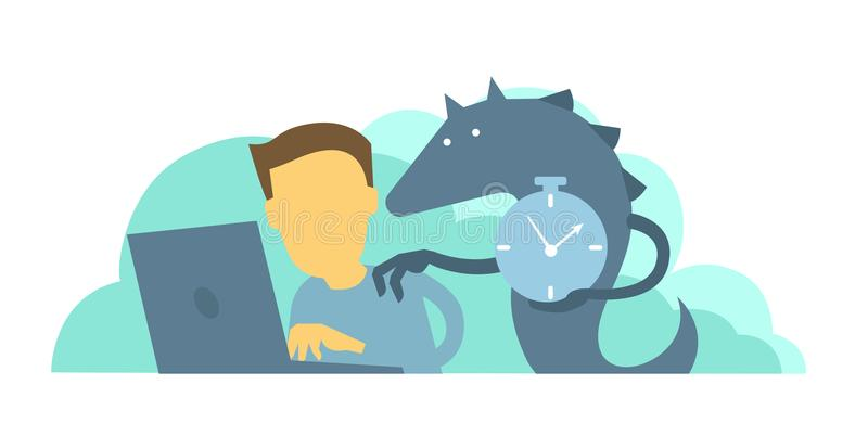 Monster reminds the worker of deadline. Time to take the project. vector illustration