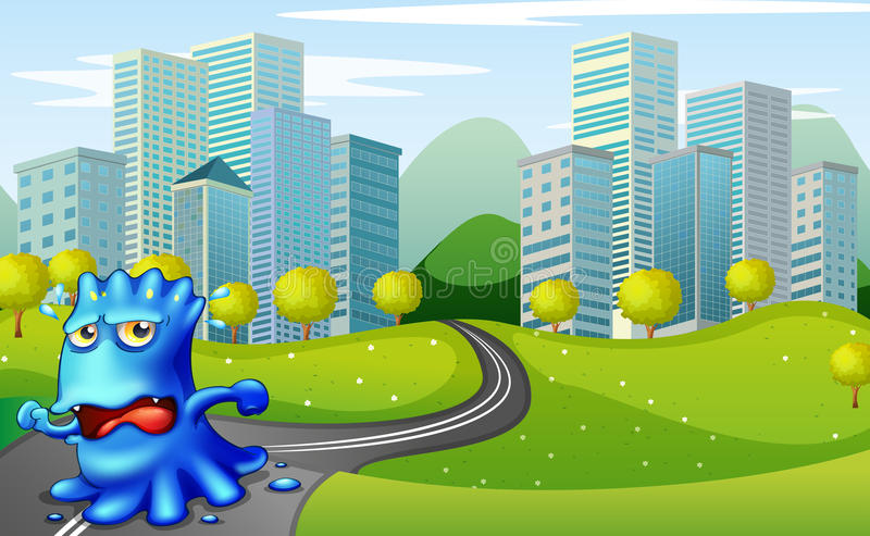 Download A Monster Running At The Road Near The Buildings Stock Illustration - Illustration: 34713767