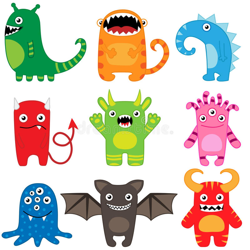 Monster set. Set of different cute funny cartoon monsters