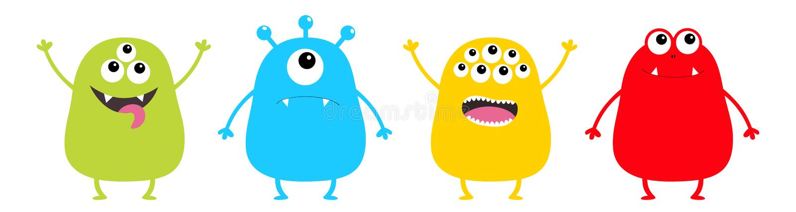 Monster set. Cute cartoon colorful scary character. Eyes, tongue, hands up, down. Funny baby collection. Happy Halloween card. Whi. Te background Isolated. Flat stock illustration