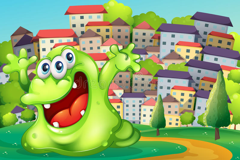 Download A Monster Shouting For Joy At The Hilltop Across The Tall Buildi Stock Vector - Image: 34133951