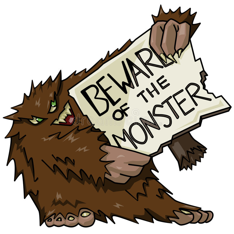 Download Monster With Sign Royalty Free Stock Image - Image: 5700866