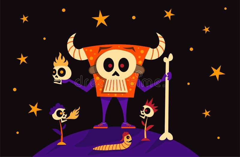 Monster-Skelett-Maske, Schädelhauptblumenfeuer und lustiger Wurm mit Baseballmütze Glücklicher Halloween-Fahnen-Feiertags-Konzept lizenzfreie abbildung
