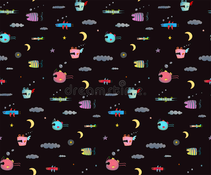 Monster Sky Flying Fish seamless pattern for Kids Design black background vector illustration