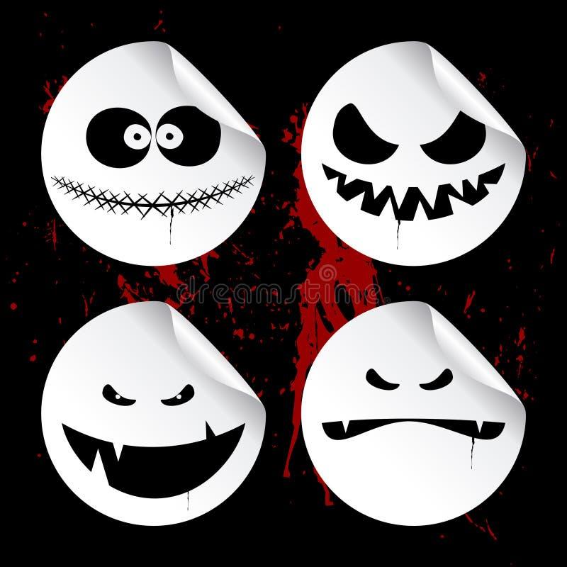 Monster smileys, Halloween stickers. vector illustratie