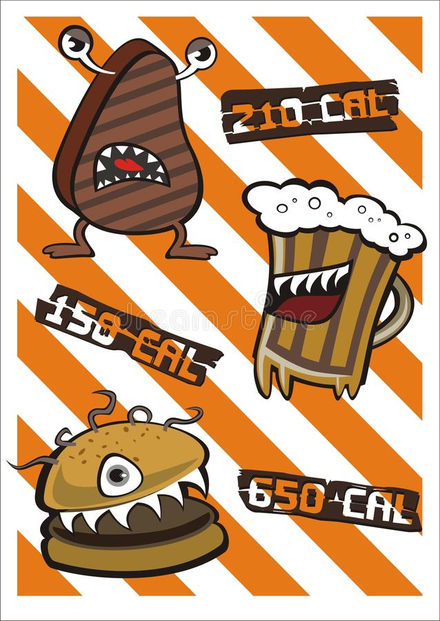 Download Monster Steak Beer And Burger With Calories Stock Vector - Illustration: 23664715