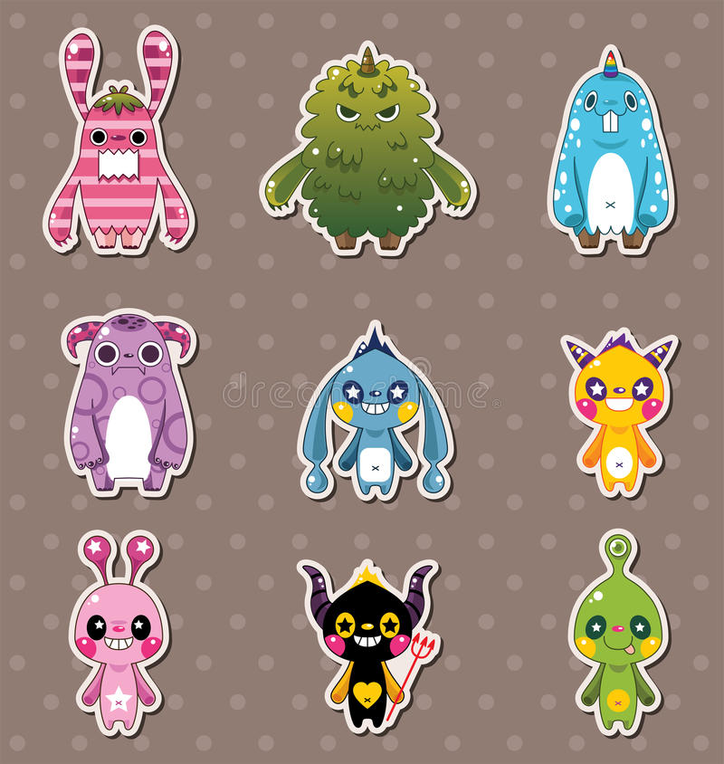 Monster stickers vector illustration