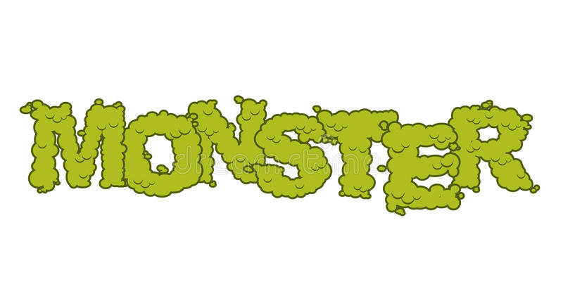 Monster text. Scary lettering and typography. Green terrible Let vector illustration