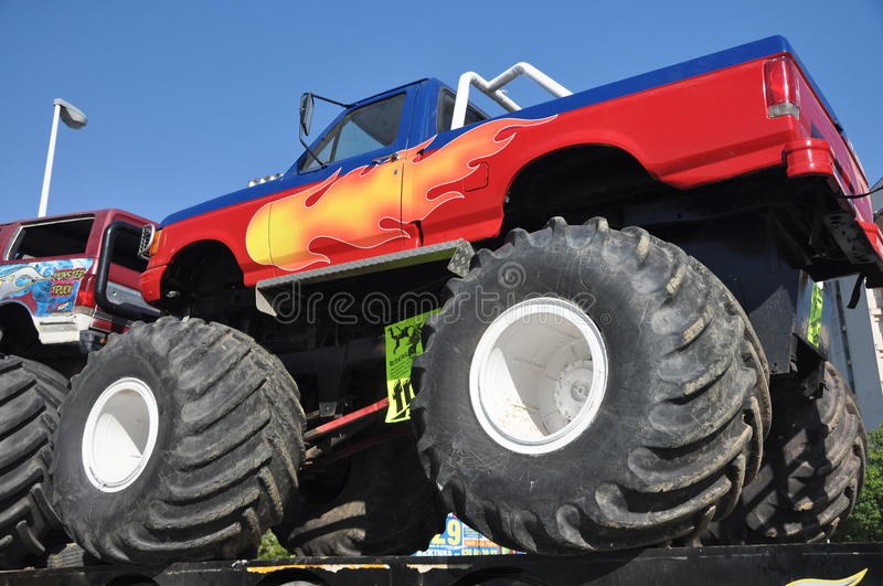 Monster truck 4x4. Huelva freestyle: A popular monster truck, is on display before a performance at stadium area at plaza de toros in Huelva: July 21, 2011 royalty free stock images