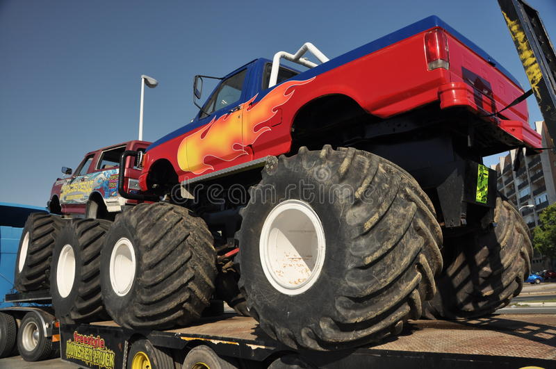 Monster truck 4x4. Huelva freestyle: A popular monster truck, is on display before a performance at stadium area at plaza de toros in Huelva: July 21, 2011 royalty free stock photos