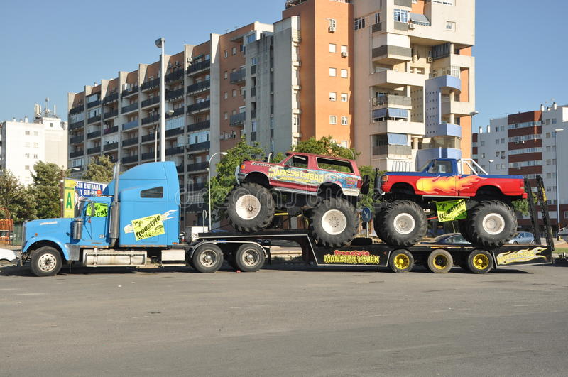 Monster truck 4x4. Huelva freestyle: A popular monster truck, is on display before a performance at stadium area at plaza de toros in Huelva: July 21, 2011 royalty free stock photo
