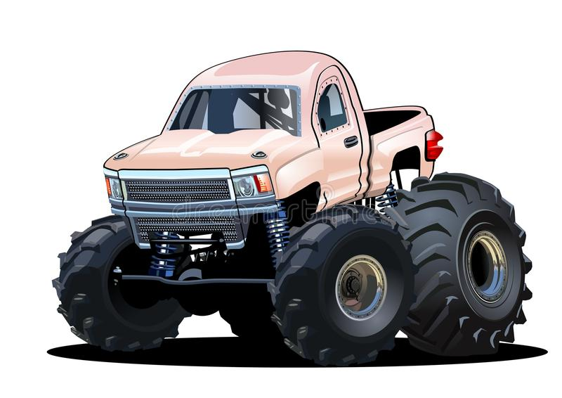 Monster truck de la historieta ilustración del vector