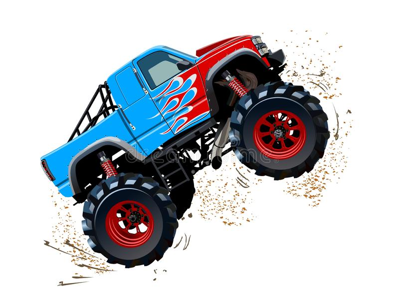 Monster truck de la historieta aislado en el fondo blanco libre illustration