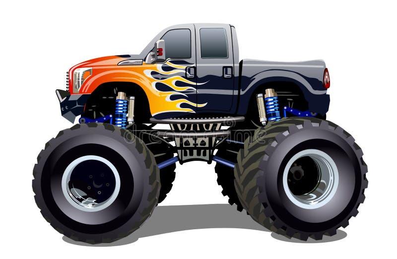 Monster truck de la historieta aislado en el fondo blanco stock de ilustración