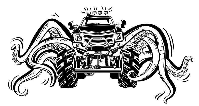 Monster truck del vector con los tentáculos del molusco Tatuaje animal místico del coche Aventura, viaje, al aire libre símbolos  stock de ilustración