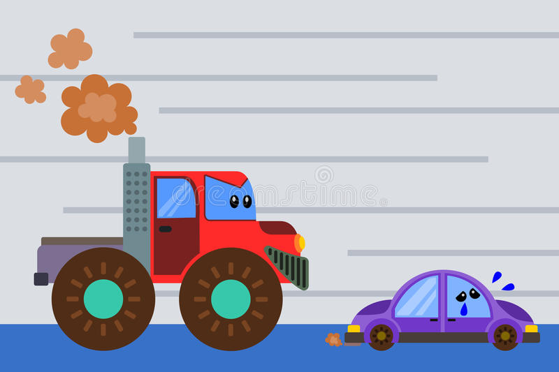 Monster truck. A humorous illustration of an angry monster truck chasing a small car vector illustration