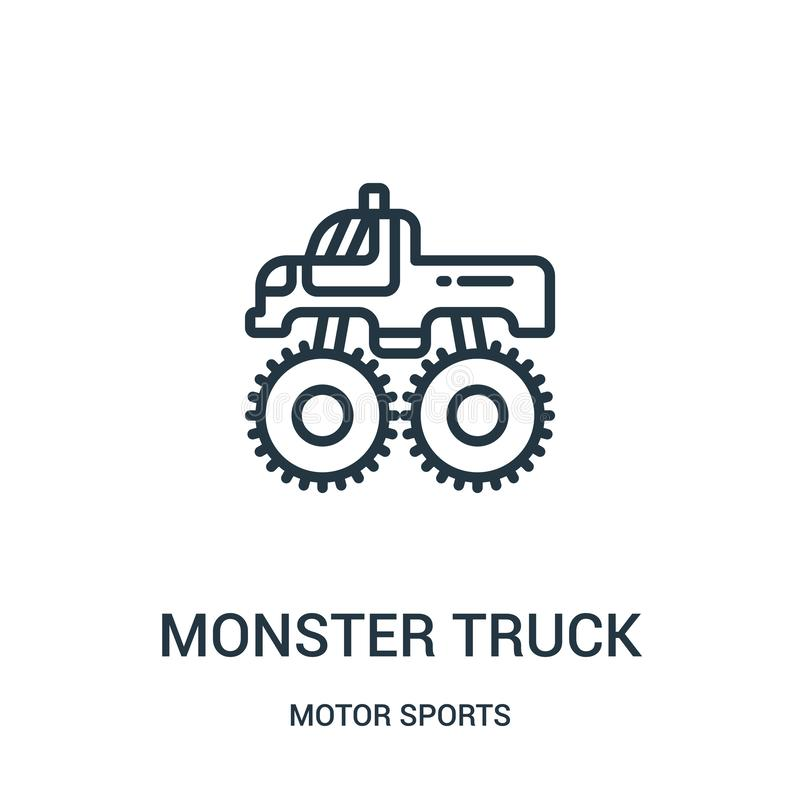monster truck icon vector from motor sports collection. Thin line monster truck outline icon vector illustration. Linear symbol royalty free illustration