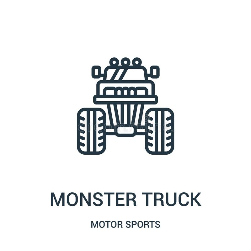 monster truck icon vector from motor sports collection. Thin line monster truck outline icon vector illustration. Linear symbol vector illustration