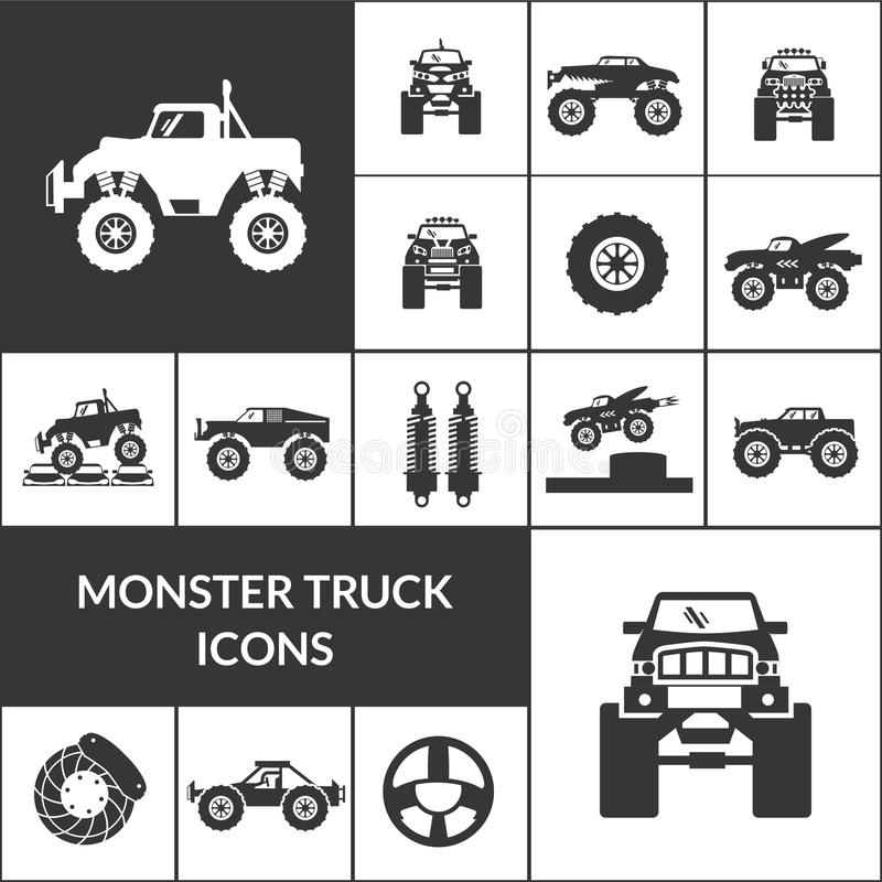 Monster Truck Icons Set. Monster truck and huge auto black icons set vector illustration stock illustration